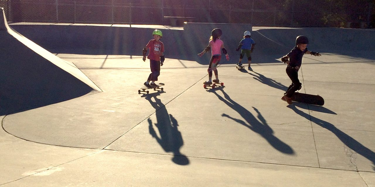 Kids hit park with short stripes